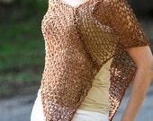 Hand Knit Poncho Hand Knit Lightweight Sweater Warm Golden Brown