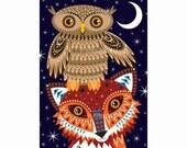 Fox and Owl Postcard