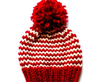 the simple striped knit hat pattern: chunky striped hand-knitted hat/beanie pattern with pom pom