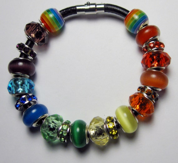 RAINBOW Colors,/PRIDE / European style Charm Bracelet /Leather or Silverplate/Custom Order Item