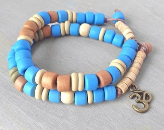 Sky Blue Om Bracelet - Light Blue Yoga Bracelet Set - Om Aum Ohm Bracelet - Bronze Om Jewelry Meditation Bracelets