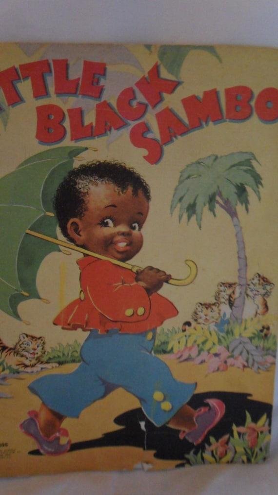 Vintage little black sambo book paperback large page colorful children