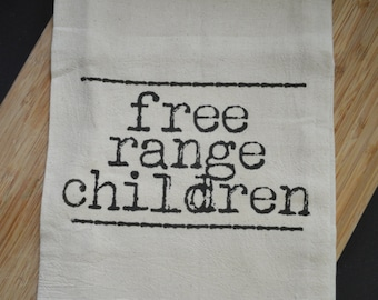Free Range Children Flour Sack Tea Towel