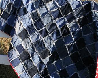 """Blue Jean Rag Quilt 80"""" x 62"""""""