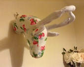 Fabric deer stag head in Cath Kidston strawberry print