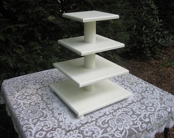 Cupcake Stand, Cupcake Tower, Square Cupcake Stand, Wood Cupcake Stand, White Cupcake Stand, 4 Tier Cupcake Stand