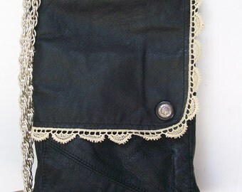 Upcycled LEATHER & LACE Hip Pouch Vintage Jacket Snap pocket Crossbody Bag IPad Purse Repurposed