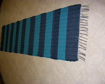 long runner navy blue & turquoise bright blue 8 foot  woven rag rug  south dakota made
