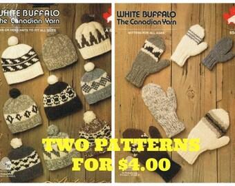 Cowichan Hat Knitting Pattern Plus White Buffalo Mitten Pattern Digital Knitting Pattern Instant Download