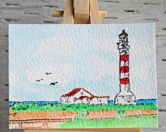 Lighthouse Scene ACEO, Original Watercolor Painting, Miniature Art, Affordable Art Card, By The Sea, Coastal Life, Maritime Landscape