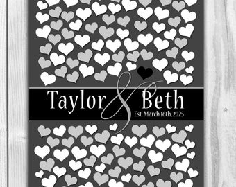 Wedding guestbook WEDDING GUESTBOOK SIGNATURE poster | Black and White Color Poster | Bridal Shower Gift Heart Guestbook 151 Guests 20x30_05