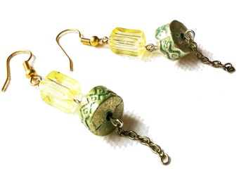 Yellow and Green Dangle Earrings
