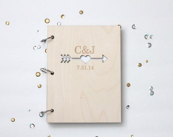 Hearts and arrows custom wood wedding guest book