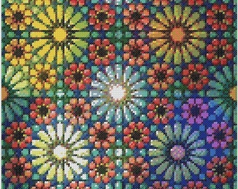 Bring Me FlowersPDF Cross Stitch Chart Pattern Instant Download geometric Arabic Style Square Tile Large Intricate