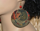 Large Fabric Covered Wood Earrings Afrocentric Earrings Afrocentric Jewelry- Cleo