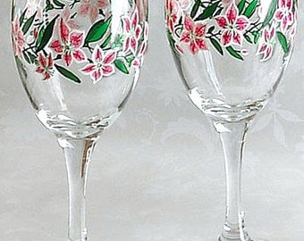 PINK LILIES with Swarovski Crystals on 12 oz Wine Glasses, Hand Painted, signed