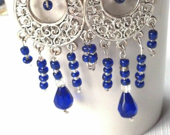 Cascading Cobalt Earrings, Cobalt Teardrop & Silver Filigree Earrings, GIFTS for HER, Summer Jewelry SALE, Silver and Cobalt Blue Jewelry