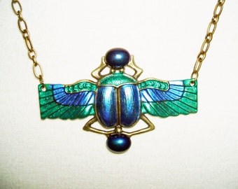 Blue Green SCARAB Necklace BEETLE WiNGS Glass Stones Beads Art Deco Egyptian Revival Free USA Shipping