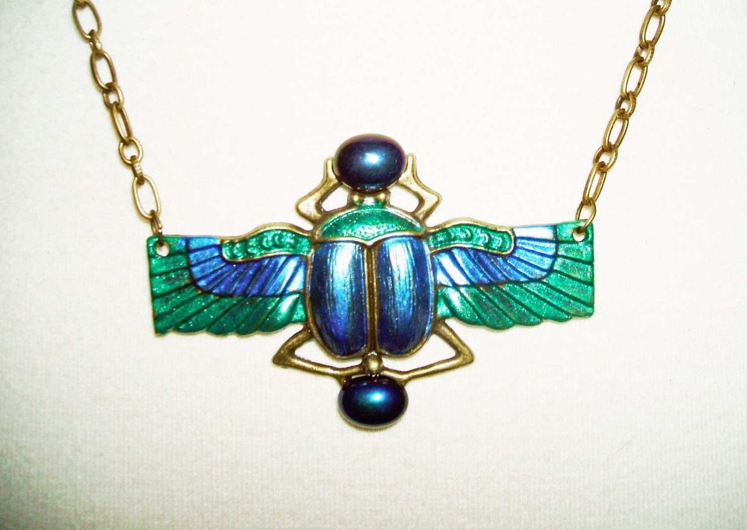 Blue Green SCARAB Necklace BEETLE WiNGS Glass Stones by ...