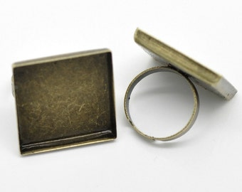 3 Cabochon Ring Settings (Holds 25mm) Bronze Adjustable 18.3mm US 8 -  Ships IMMEDIATELY  from California - A367