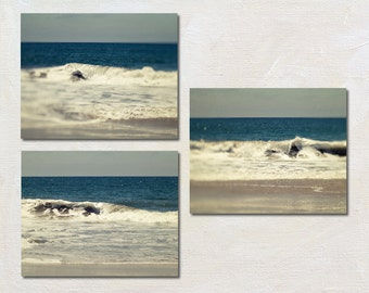 Wave Photography Set, Ocean Wall Art Set, Blue and White Wall Decor, Set of Three Photographs, Beach Picture Set
