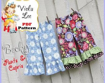Becky... Ruffled Pants Pattern,  Ruffled Capris Pattern. Girl's Sewing Pattern. pdf Pattern, Infant -Toddler Girl's Sewing Pattern