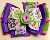 SPRING Pink, Green, Purple, EASTER Hippity Hoppity Bunny Rabbit Stacked Boutique Style Ribbon Bow Handmade for PETS Dog Collar Accessory
