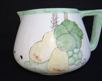 1925 French Hand Painted 64 oz Pitcher,  Limoges, France, Hand Signed