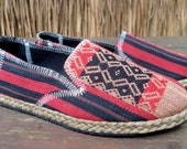 Tribal Womens Loafers Slip on Vegan Shoes In Red And Black Ethnic Naga Textiles - Morgan FREE Shipping