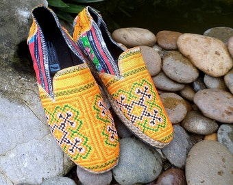 Vegan Mens Loafers in Ethnic Hmong Embroidery and Indigo Batik Mens Espadrille - Morgan