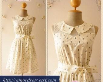 Nautical Lady : Summer Dress Peter Pan Collar Dress llusion Dress Anchor Dress Mod Dress nautical sundress -XS-XL,custom