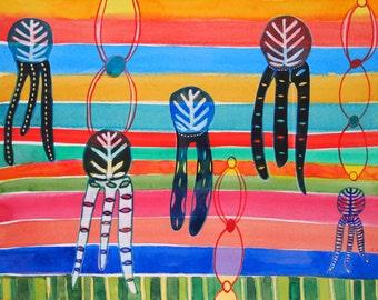 In Limbo, original watercolor, abstract art