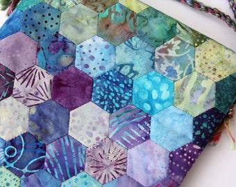 Hand Stitched Lagoon Hexagon Bag by PingWynny