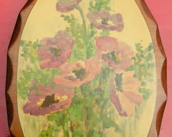 60s Purple POPPY Carved Wood Decoupage Hanging Plaque SMALL