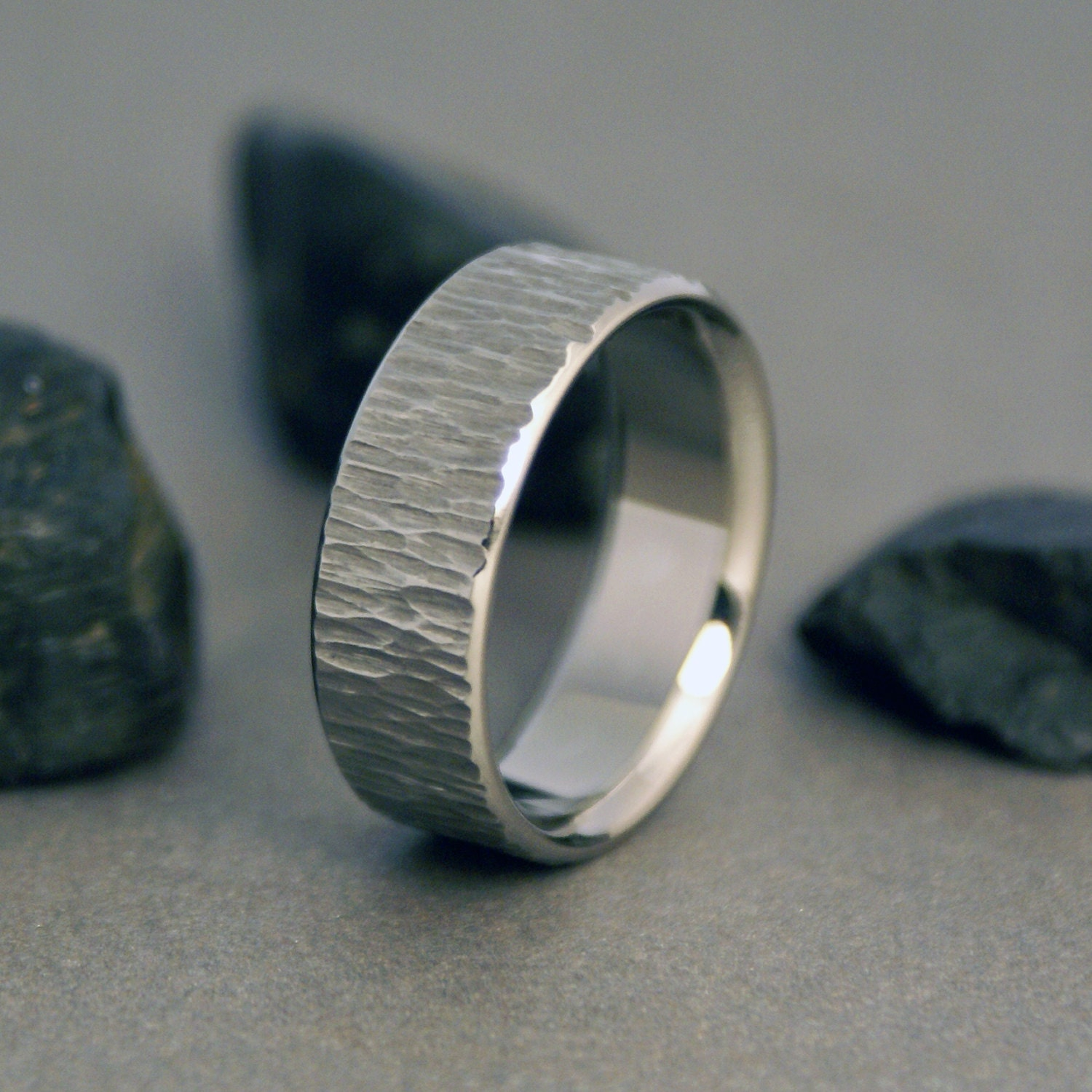 Titanium Ring Wood Grain White Ash Tree Mens Ring Titanium
