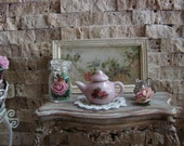 Dollhouse Miniature Pink Ceramic Teapot with Pretty Roses Motif