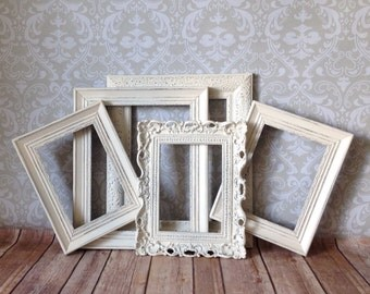Shabby Chic PICTURE FRAMEs wedding decor Antique White  distressed PHOTO frame collection Glass Easel Back