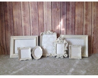 White PICTURE FRAMES - Baby - Wedding - shabby Chic - Glass and Easel and Hanging Backing