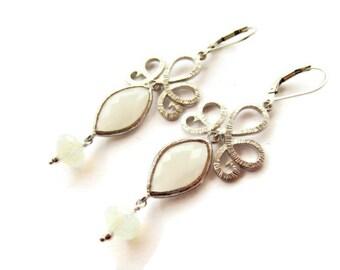 Bridal Earrings Bride Earrings Wedding Earring Jewelry White Wedding White Earring Drop Formal Earring Sterling Silver Bridesmaids Gift Idea