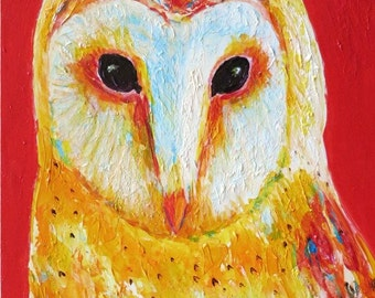 Vivid Abstract Hoot Owl, Nursery, Kids, Teens, Boys, Girls, Original Acrylic Textured  Painting by ebsq Artist Ricky Martin FREE SHIPPING
