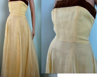 Vintage 1940s Yellow Organdy Gown // 40s Dress with Brown Velvet Sash // 2/XS