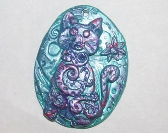 Metallic Kitty Cat pendant in green and purple