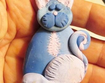 "Pocket Kitty polymer clay original sculpture 2 1/2"" tall"