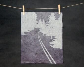 Through the Woods - LINOCUT - hand printed