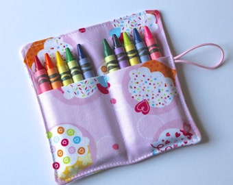Crayon Rolls Party Favors, Pink Confetti Cupcakes, holds 10 crayons, Birthday Party Favors