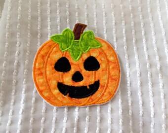 Pumpkin Face Iron on Applique Patch