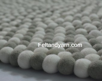 Grey soft white felt ball rug, felt ball mat, wool felt ball rug, multi size rugs, round felt ball rugs, felt rugs for nursery