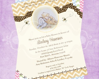 Classic Pooh Chevron Baby Shower Invitation