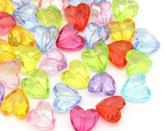 12mm mixed color heart beads - 12mm faceted heart beads - 12mm acrylic beads (1269) - Flat rate shipping