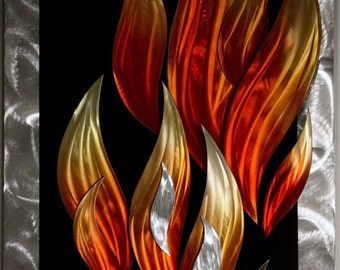 Metal Art - Wilmos Kovacs Flames Fire Abstract Metal Wall Sculpture Modern Art - Rainbow Decor Painting - W619